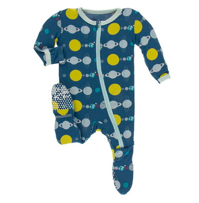 Kickee Pants Zipper Footie - Twilight Planets - Molly Pop Boutique