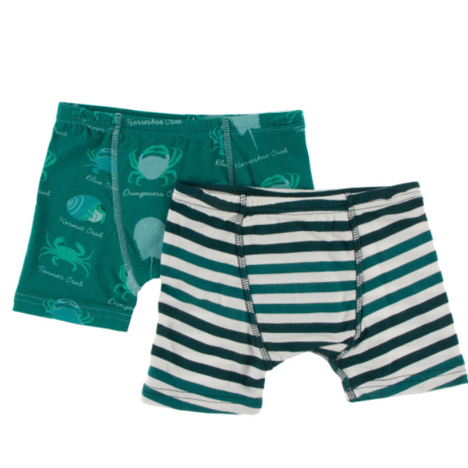 Kickee Pants Boxer Set - Cedar Crab Types & Wildlife Stripe