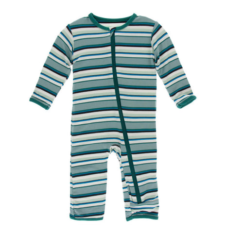 Kickee Pants Zipper Coverall - Multi Agriculture Stripe