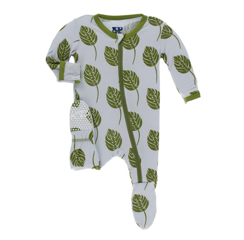 Kickee Pants Zipper Footie - Dew Philodendron - Molly Pop Boutique