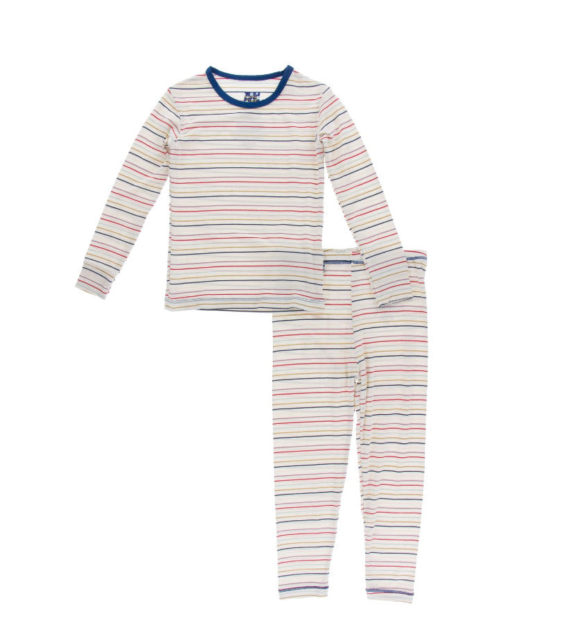 Kickee Pants Pajama Set - Everyday Heroes Multi Stripe