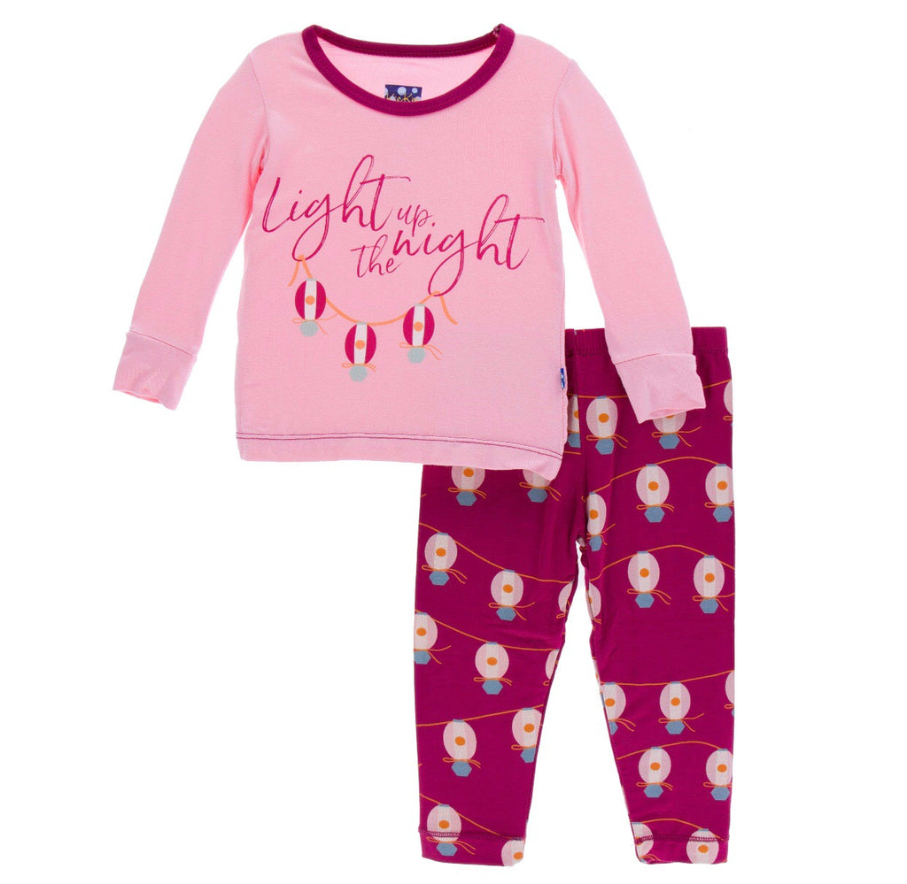 Kickee Pants Long Sleeve Pajama Set - Dragonfruit Lantern Festival - Molly Pop Boutique