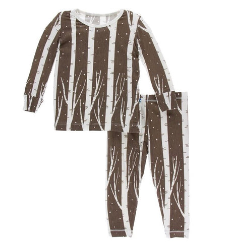 Kickee Pants - Long Sleeve Pajama Set - Falcon Snow - Molly Pop Boutique
