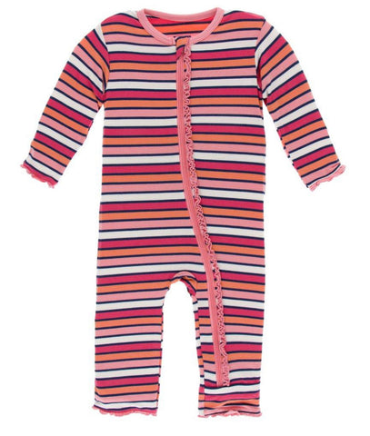 Kickee Pants Ruffle Coverall - Botany Red Ginger Stripe