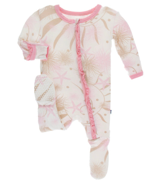 Kickee Pants Ruffle Footie - Natural Sea Garden