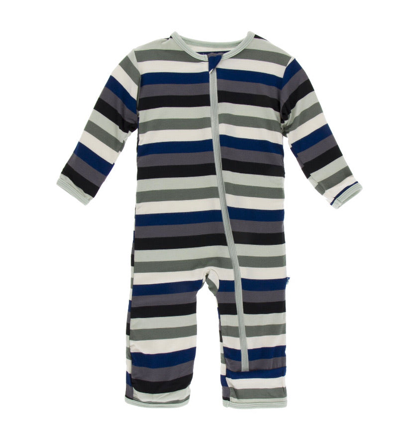 Kickee Pants Zipper Coverall - Zoology Stripe