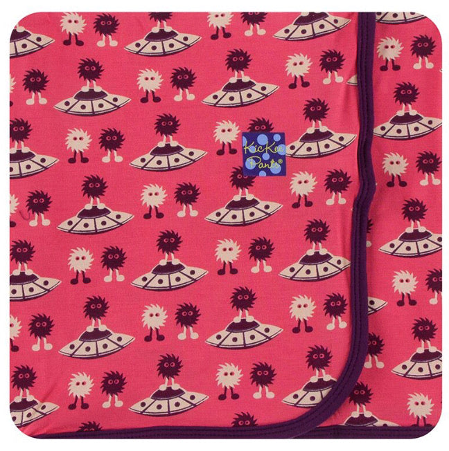 Kickee Pants Swaddle - Red Ginger Aliens with Flying Saucers - Molly Pop Boutique