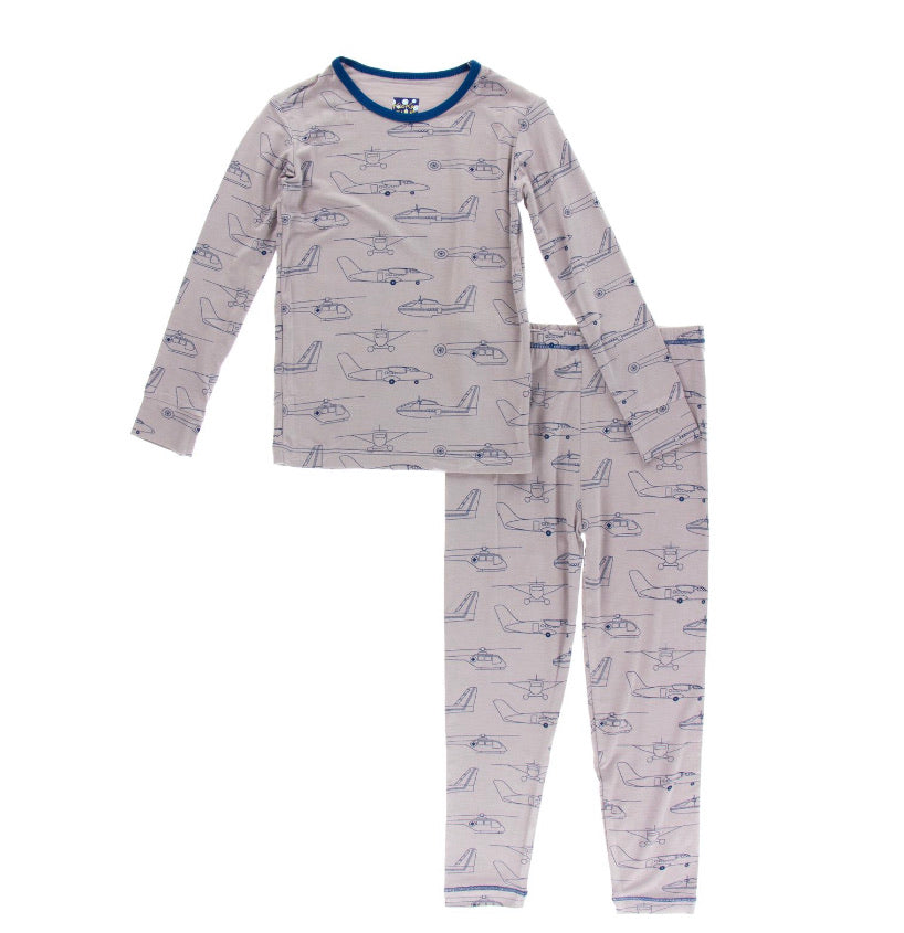 Kickee Pants Pajama Set - Feather Heroes in the Air