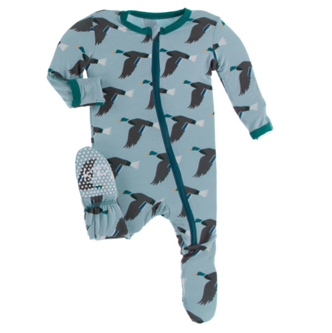 Kickee Pants Zipper Footie - Jade Mallard Duck