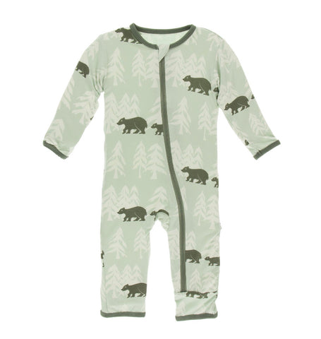 Kickee Pants Zipper Coverall - Aloe Bears and Treeline