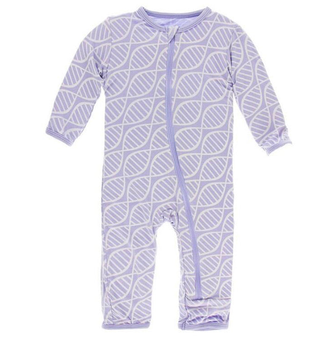 Kickee Pants Zipper Coverall - Lilac Double Helix - Molly Pop Boutique