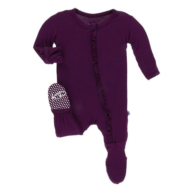 Kickee Pants Ruffle Footie with Zipper - Wine Grapes - Molly Pop Boutique