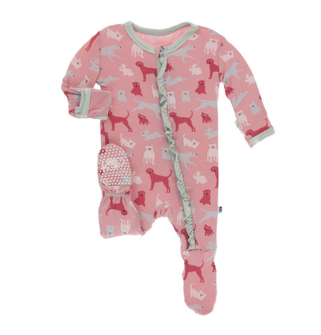 Kickee Pants Zipper Ruffle Footie - Strawberry Domestic Animals
