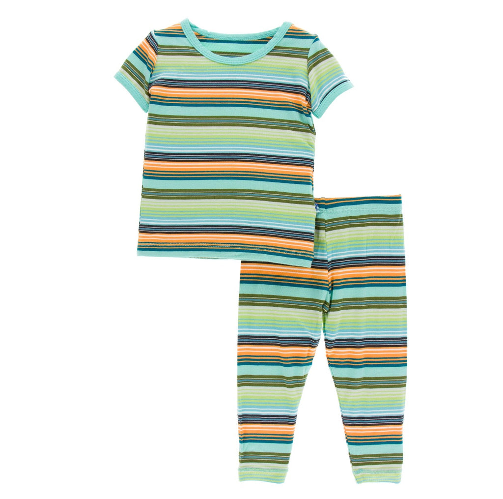 Kickee Pants Pajama Set with Pants - Cancun Glass Stripe - Molly Pop Boutique