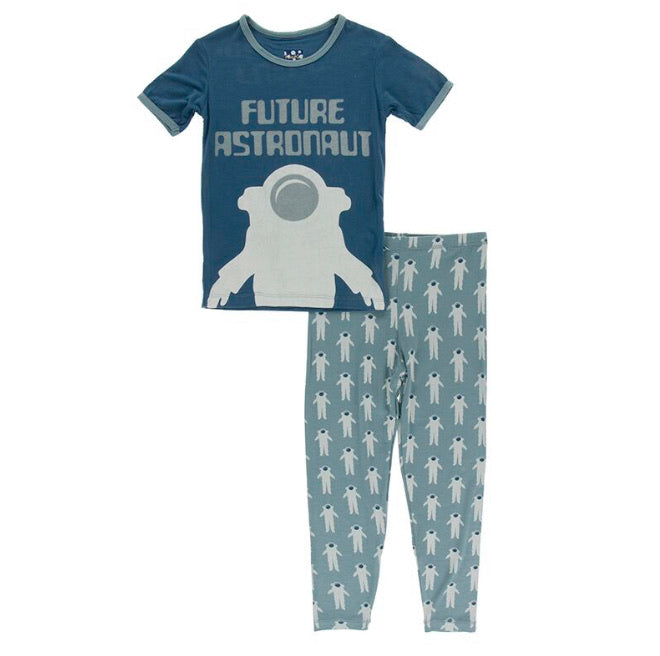 Kickee Pants Short Sleeve Pajama Set - Dusty Sky Astronaut - Molly Pop Boutique