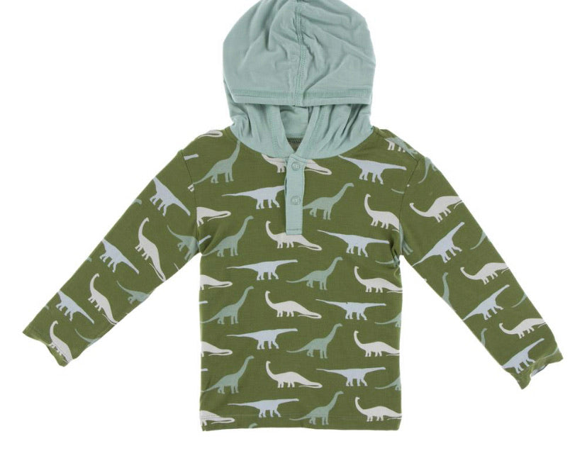 Kickee Pants Hoodie Tee - Moss Sauropods - Molly Pop Boutique