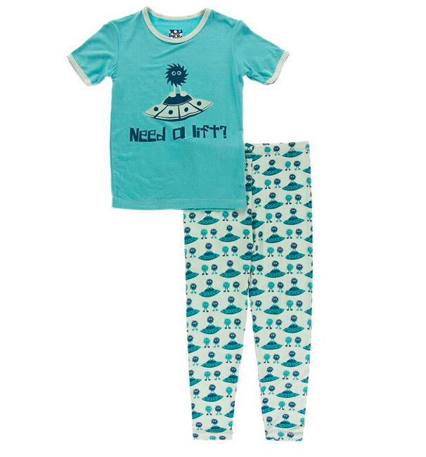 Kickee Pants Short Sleeve Pajama Set - Aloe Aliens with Flying Saucers - Molly Pop Boutique