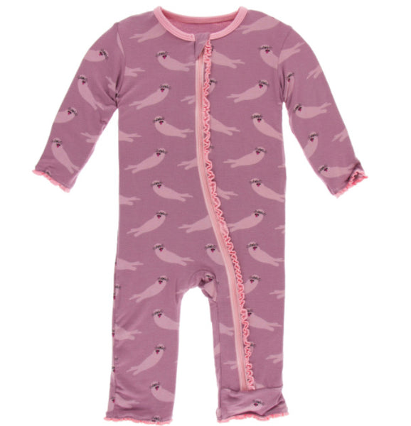 Kickee Pants Ruffle Coverall - Pegasus Otter - Molly Pop Boutique