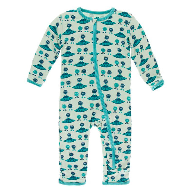 Kickee Pants Zipper Coverall - Aloe Aliens with Flying Saucers - Molly Pop Boutique