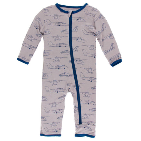 Kickee Pants Zipper Coverall - Feather Heroes in the Air