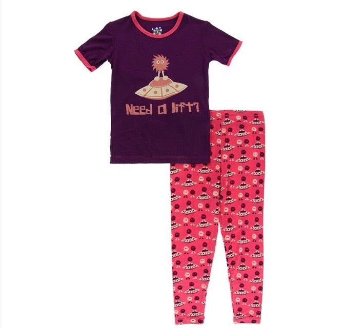Kickee Pants Short Sleeve Pajama Set - Red Ginger Aliens with Flying Saucers - Molly Pop Boutique