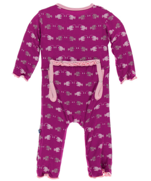 Kickee Pants Ruffle Coverall - Orchid Angler Fish - Molly Pop Boutique