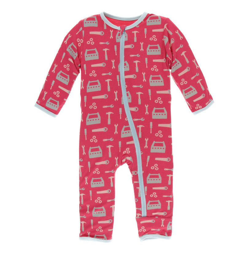 Kickee Pants Zipper Coverall - Flag Red Construction