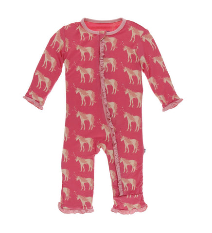 Kickee Pants Zipper Ruffle Coverall - Red Ginger Unicorns