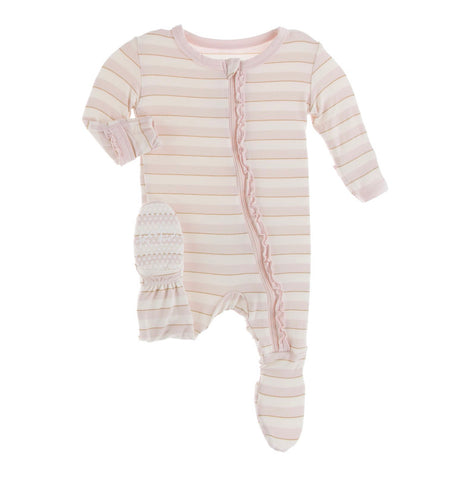 Kickee Pants Ruffle Zipper Footie - Everyday Heroes Sweet Stripe