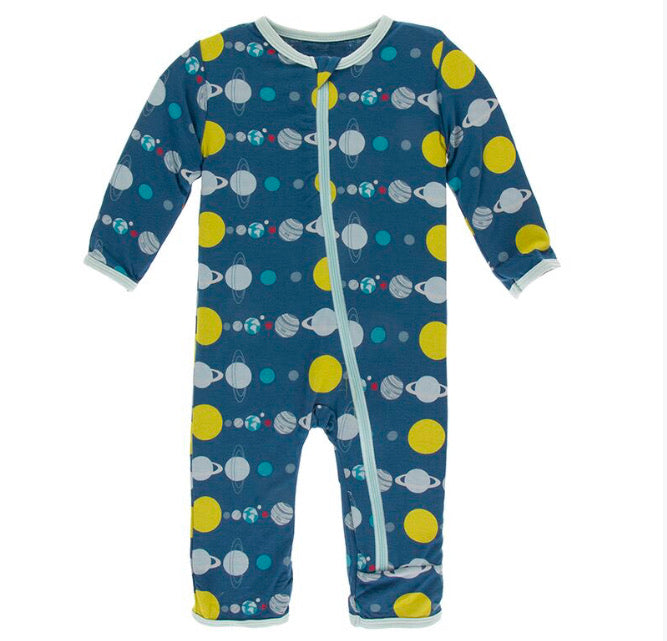 Kickee Pants Zipper Coverall - Twilight Planets - Molly Pop Boutique