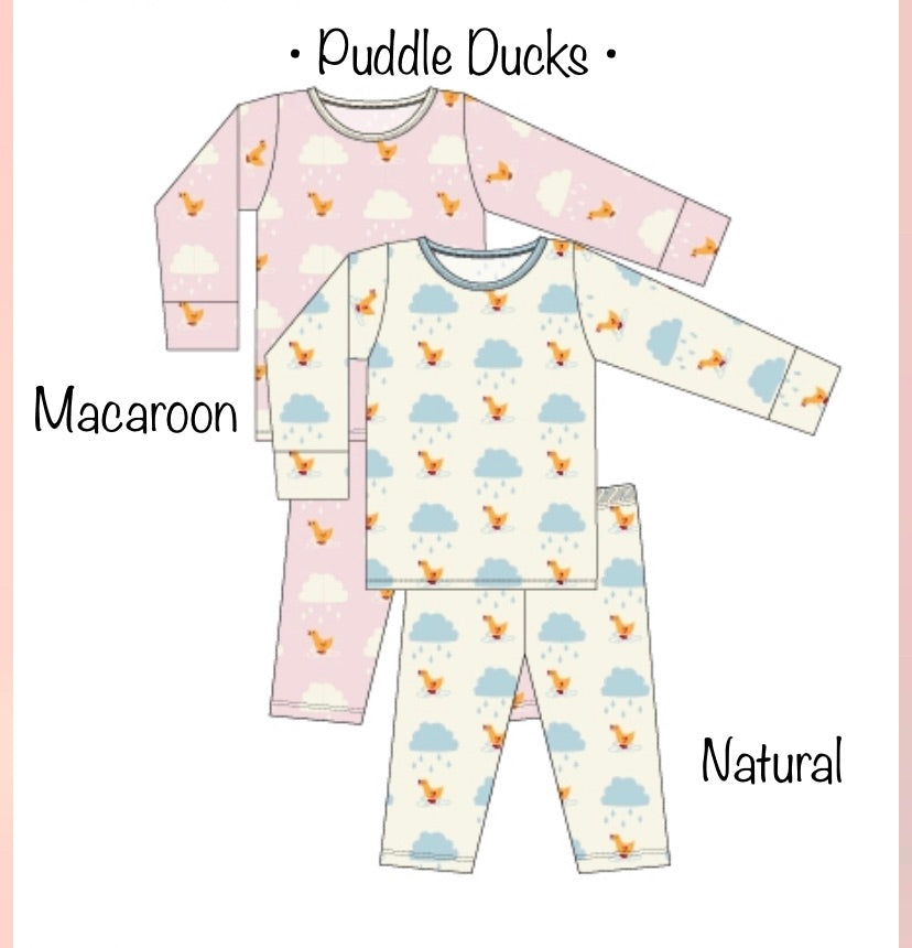 Kickee Pants Pajama Set - Natural Puddle Duck - Molly Pop Boutique