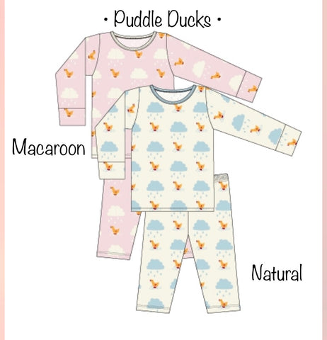 Kickee Pants - Long Sleeve Pajama Set - Natural Puddle Duck - Molly Pop Boutique
