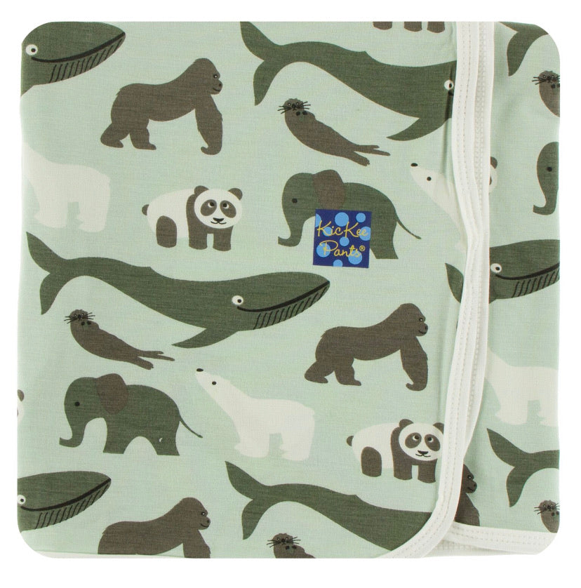 Kickee Pants Swaddle - Aloe Endangered Animals