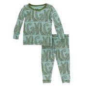 Kickee Pants Pajama Set - Shore Fern - Molly Pop Boutique