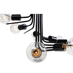 Socket-to-Me 219C08BL 8-Lt Chandelier - Black