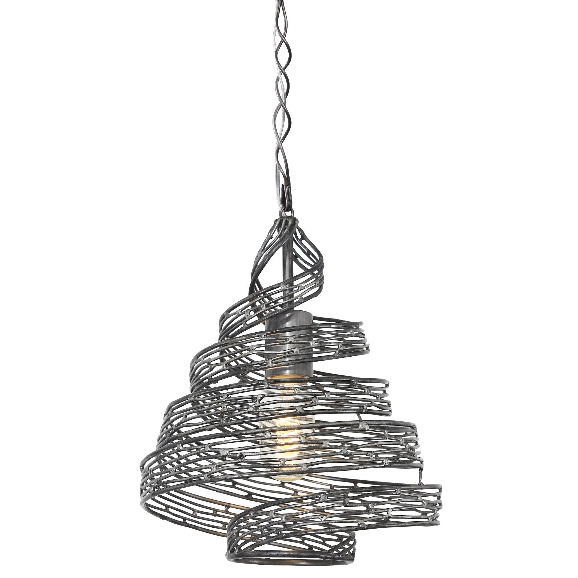 Flow 240P01SL 1-Lt Twist Mini Pendant - Steel