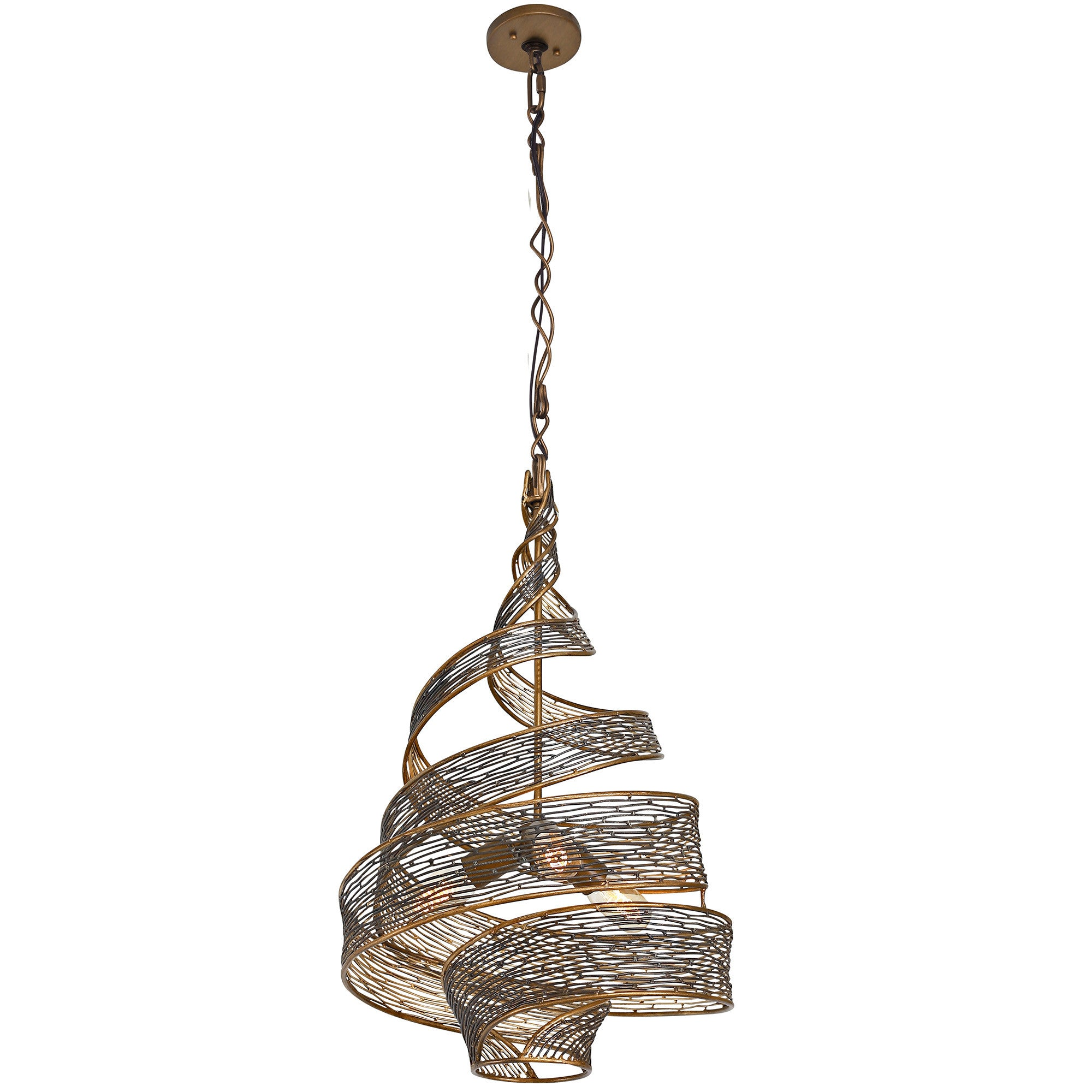 Flow 240P03HO 3-Lt Twist Pendant - Hammered Ore
