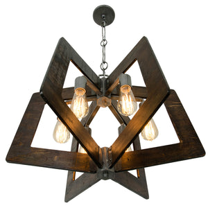 Lofty 268C06SL 6-Lt Chandelier - Steel w/ Zebrawood