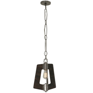 Lofty 268M01SL 1-Lt Mini Pendant - Steel w/ Zebrawood