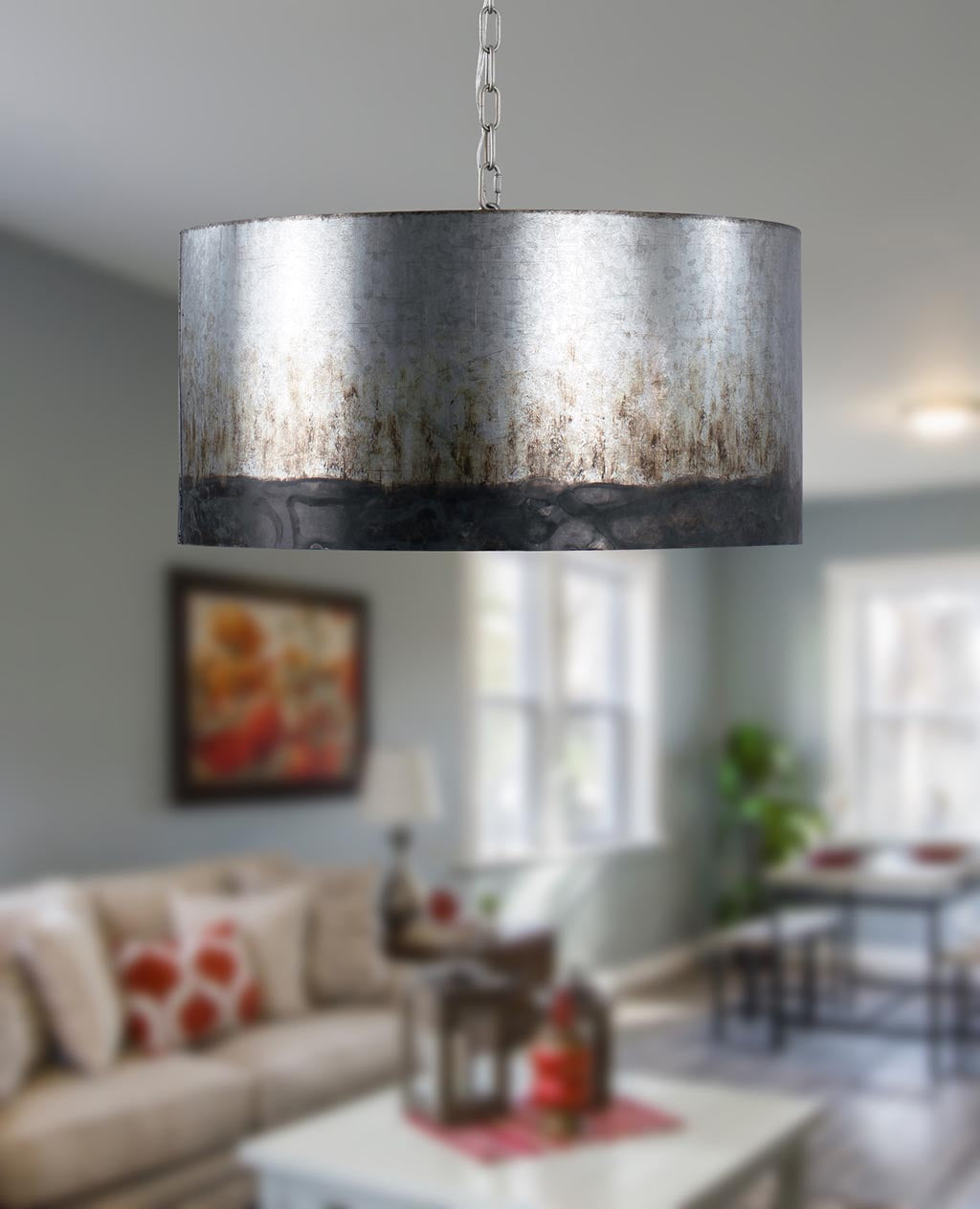 Cannery 4-Lt Drum Pendant - Ombre Galvanized
