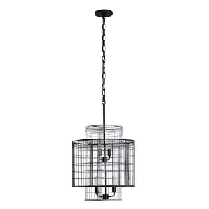 Vivienne 4-Lt Tall Pendant - Black/Grey