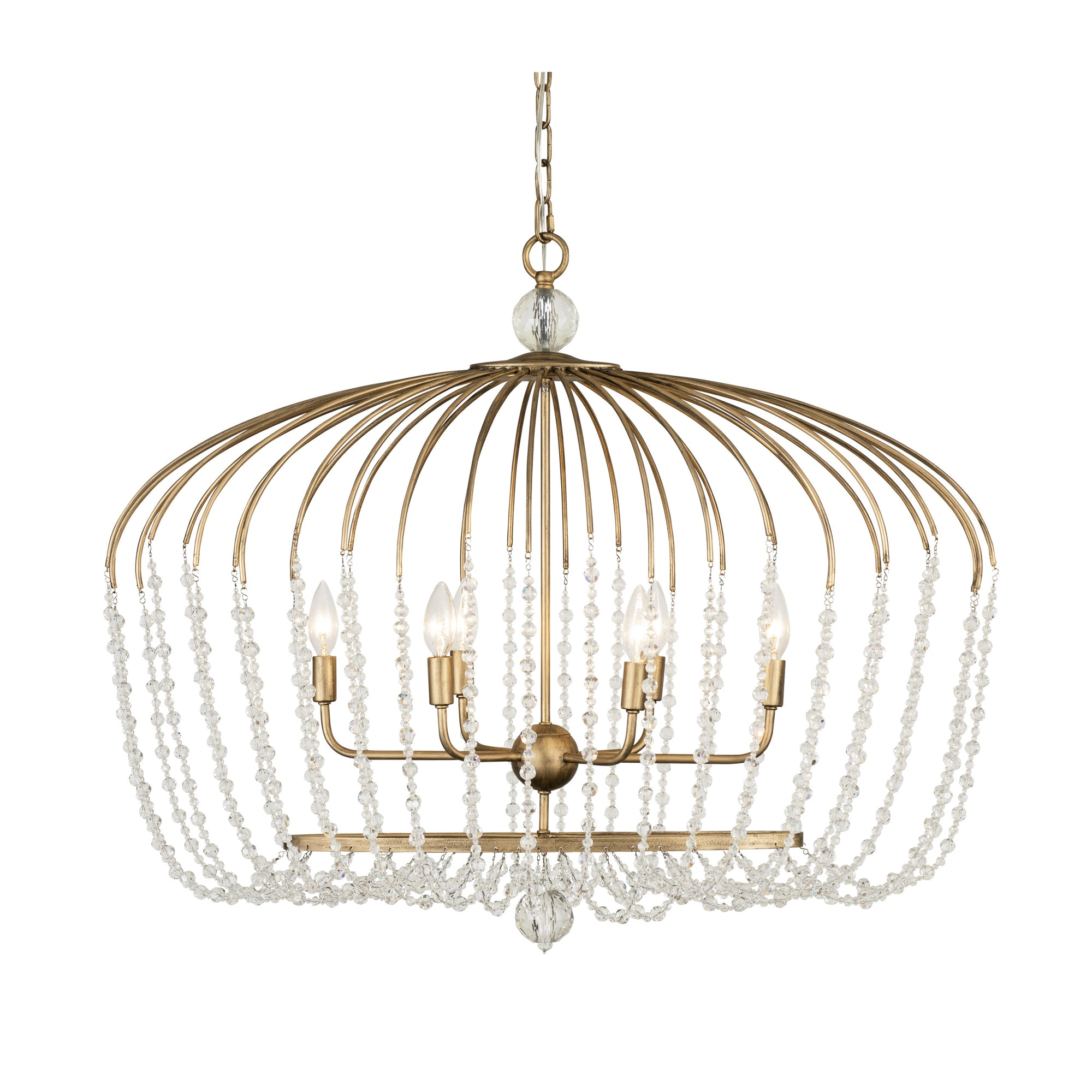 Voliere 6-Lt Crystal Oval Pendant - Havana Gold