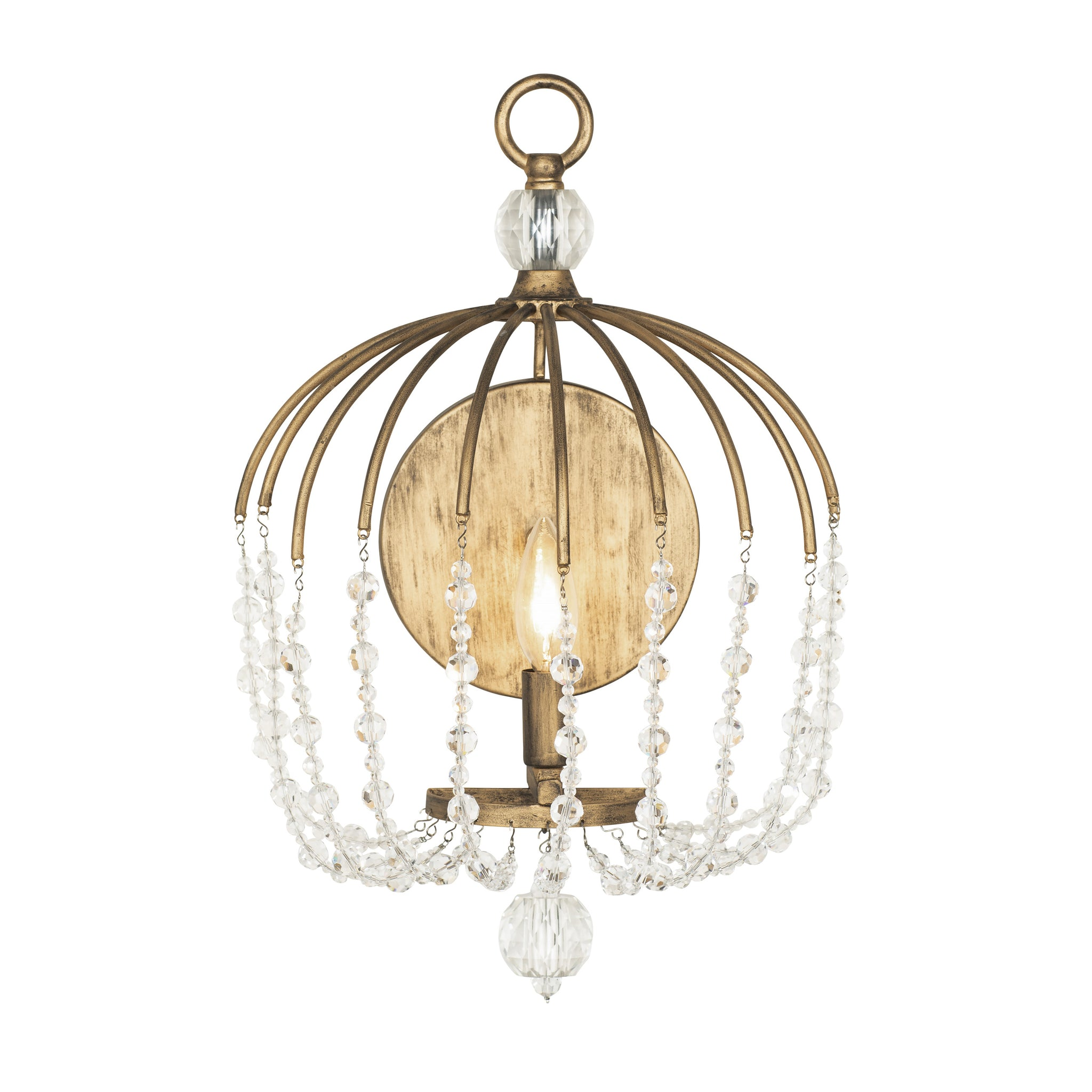 Image of: Voliere 1 Lt Crystal Wall Sconce Havana Gold Varaluz