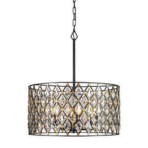 Windsor 6-Lt Crystal Pendant - Carbon Black/Havana Gold 345P06CBHG