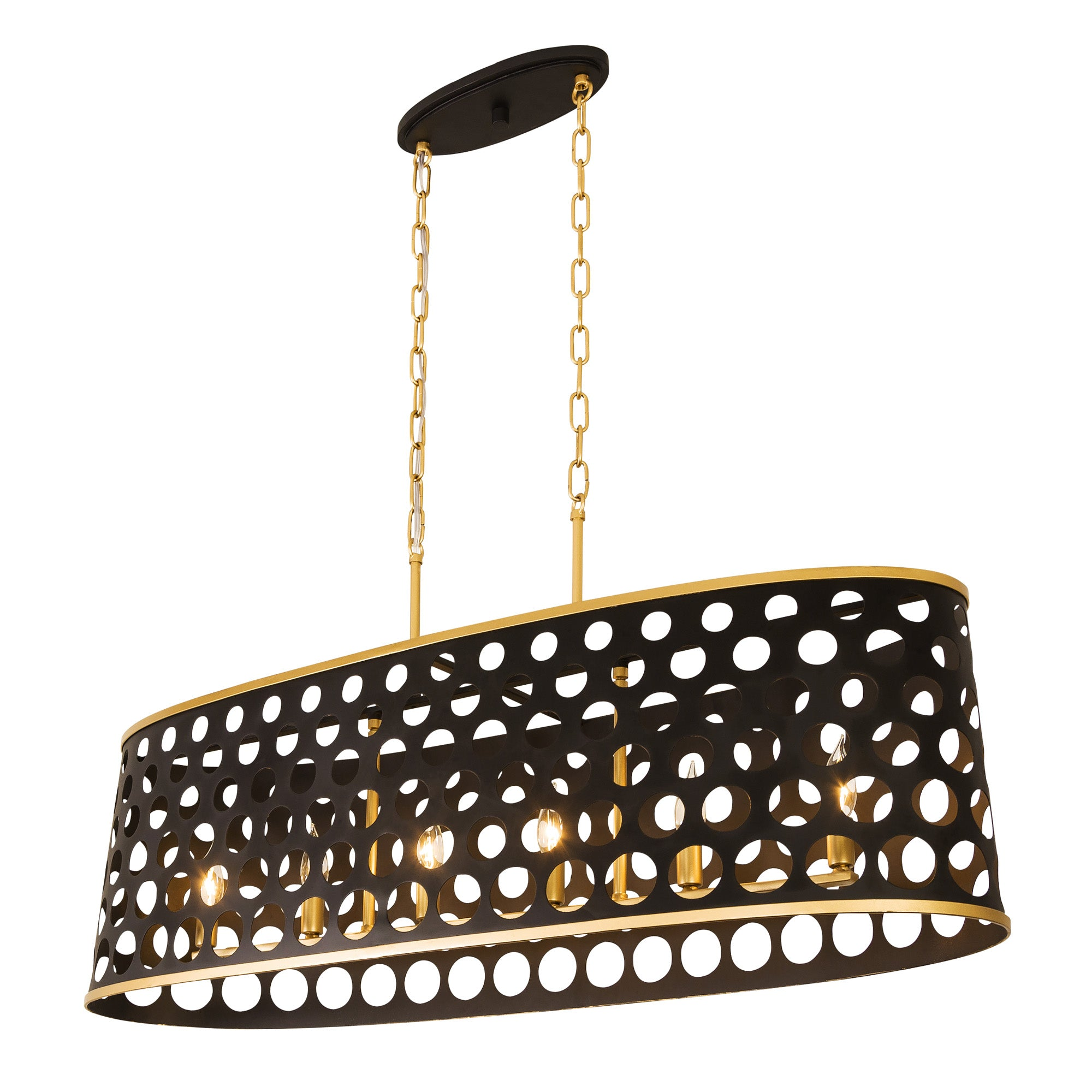 Bailey 6-Lt Linear Pendant - Matte Black/French Gold