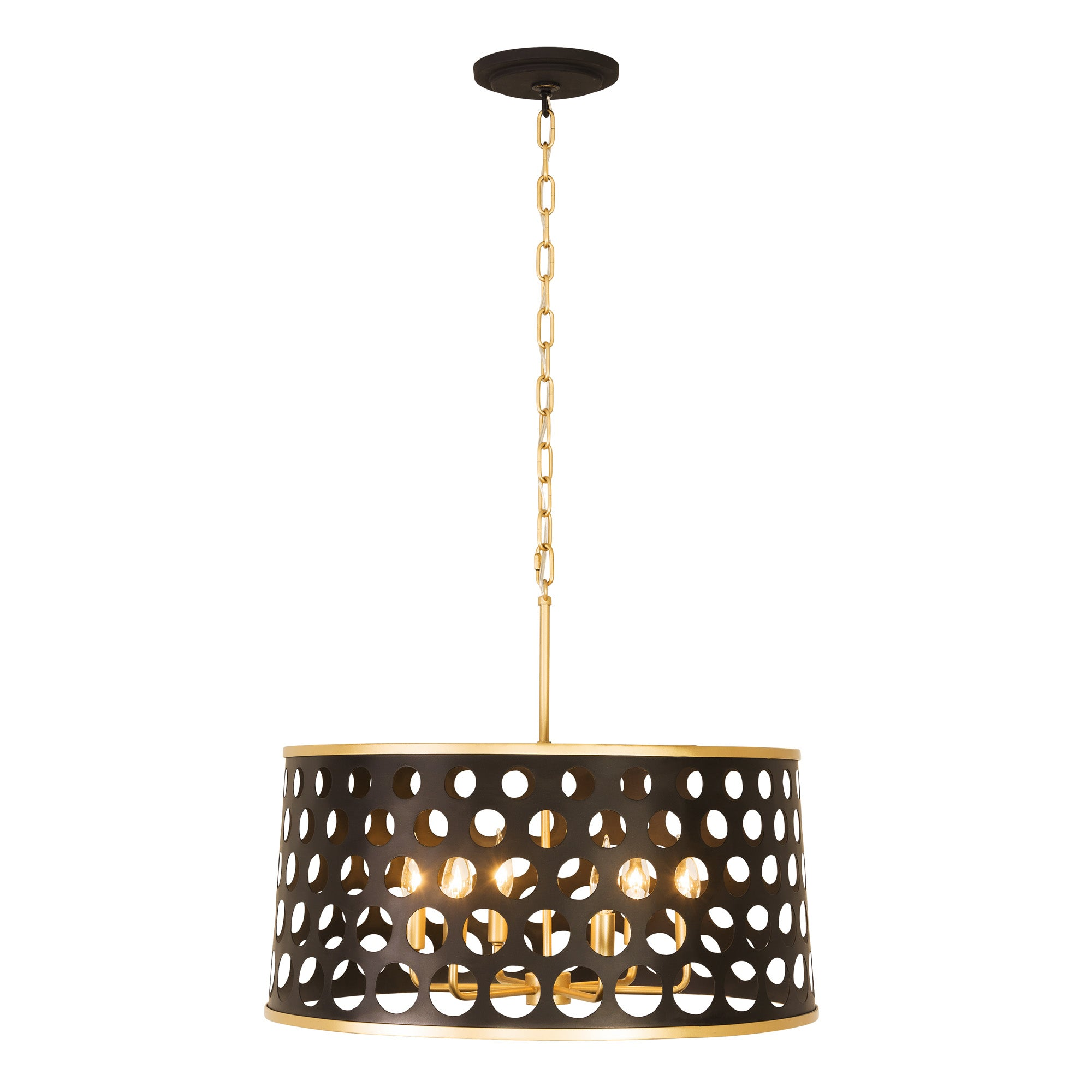 Bailey 6-Lt Pendant - Matte Black/French Gold