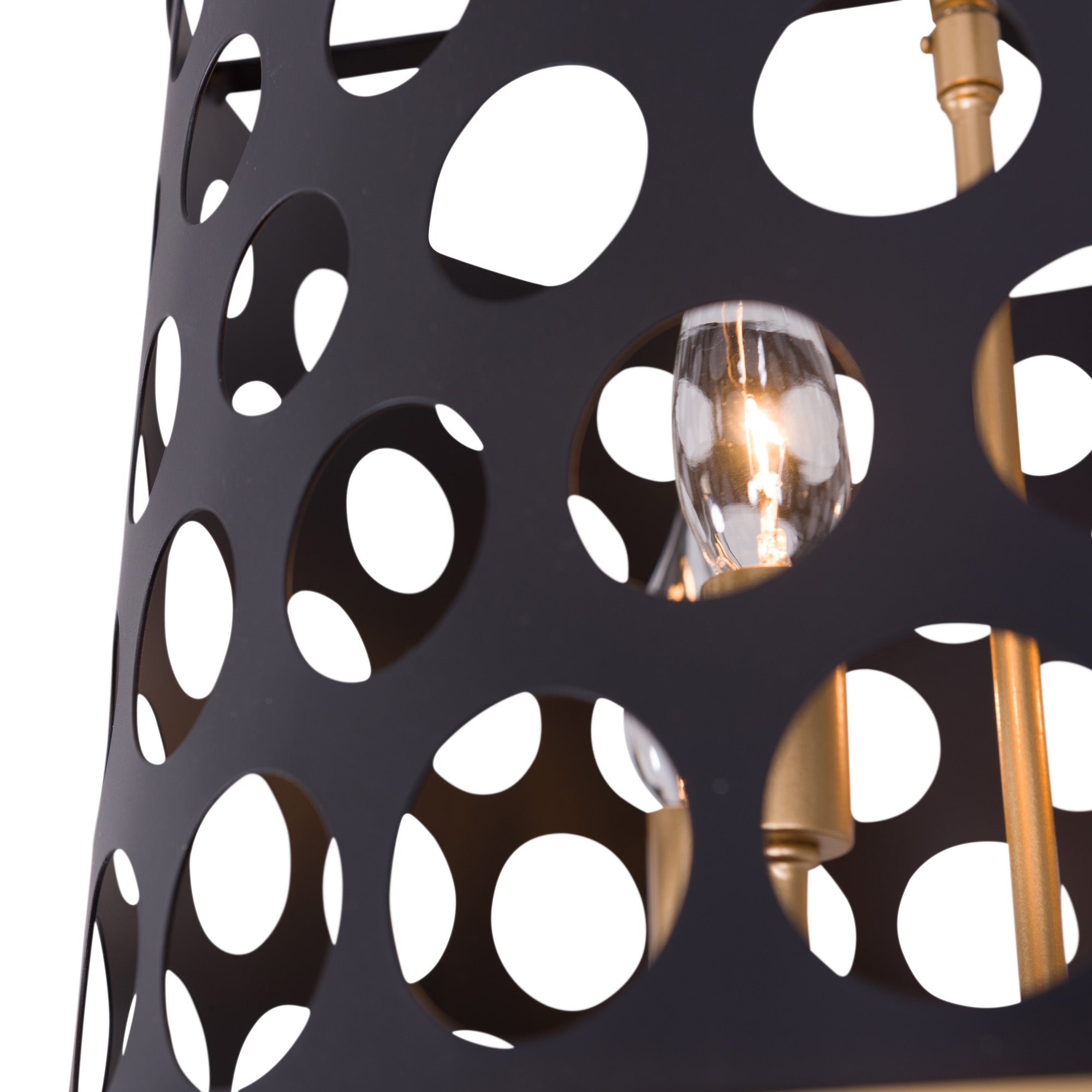 Bailey 3-Lt Pendant/Semi-Flush - Matte Black/French Gold