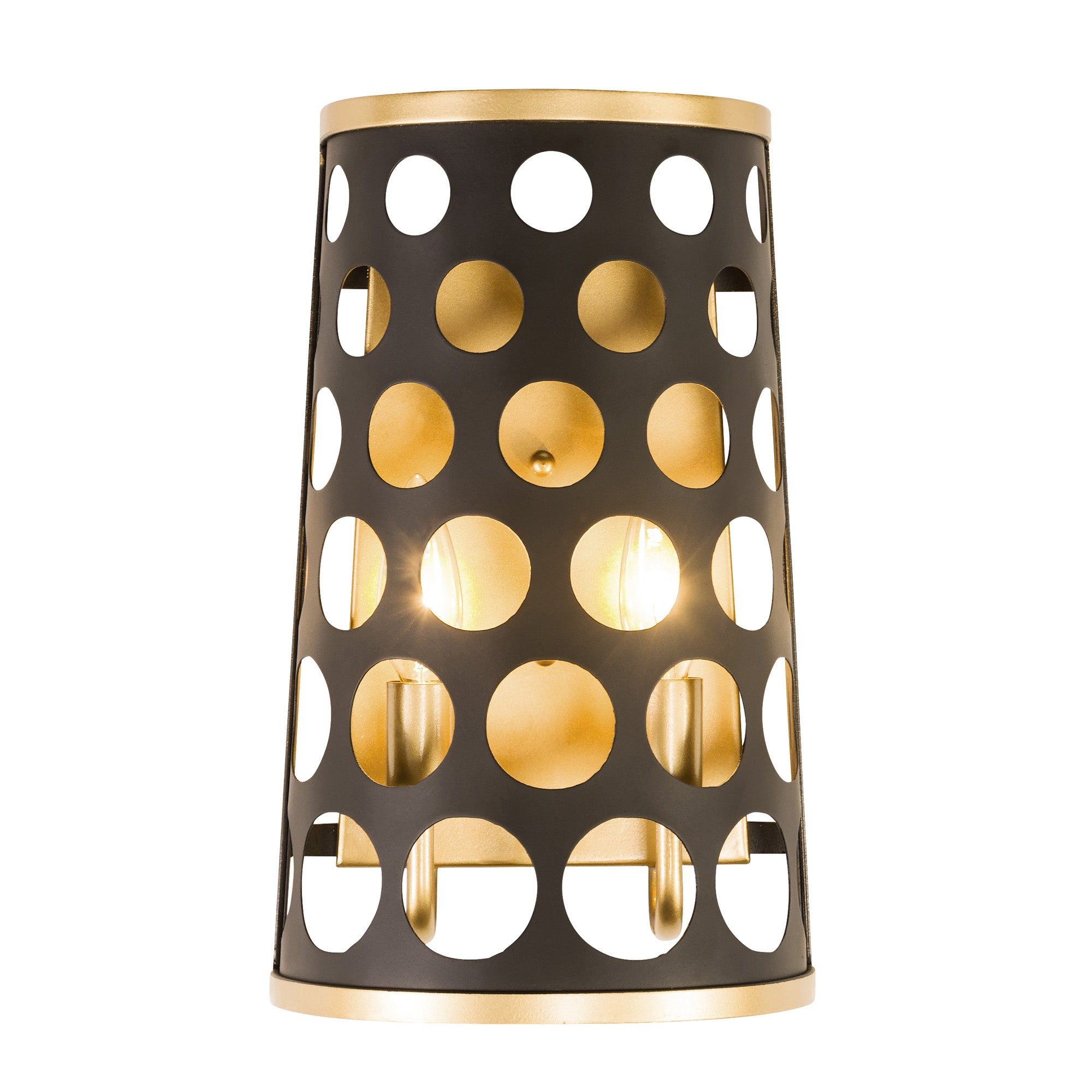 Bailey 2-Lt Wall Sconce - Matte Black/French Gold