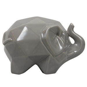 Origami Zoo 401A14GR Collectible Ceramic Elephant Statue - Gray