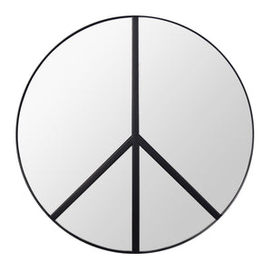 Paz 30-in Round Peace Sign Accent Mirror in Black 4DMI0117